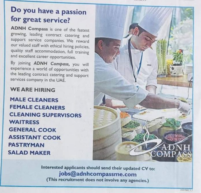 Hotel Jobs Multiple job Opportunities in Catering Company Dubai