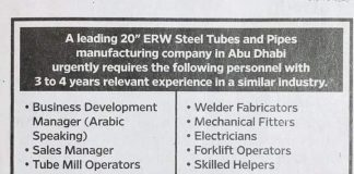 Sales Manager Job, BDM, Tube mill operator Job Abu dhabi