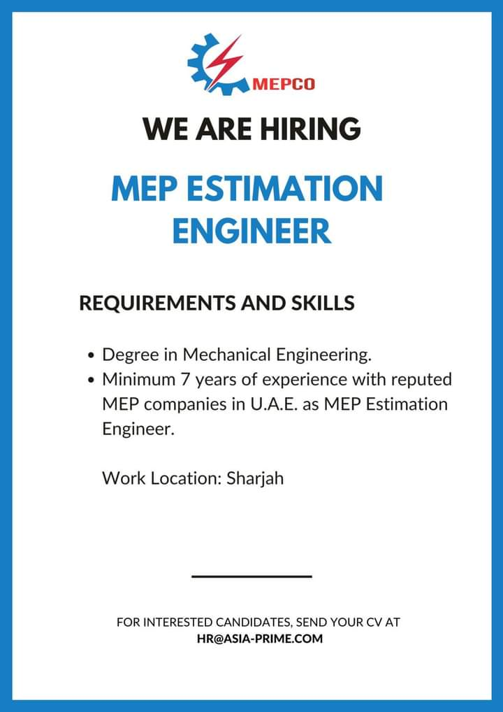 Estimate Engineer Jobs in Sharjah 2020