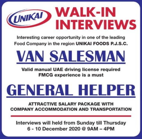 UNIKAI Jobs Dubai , Salesman and Helper Job