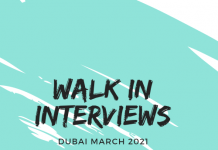 Walk in Interviews Dubai jobs March 2021