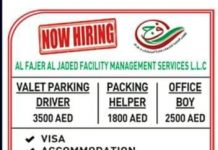 Driver, office boy, helper job in Dubai
